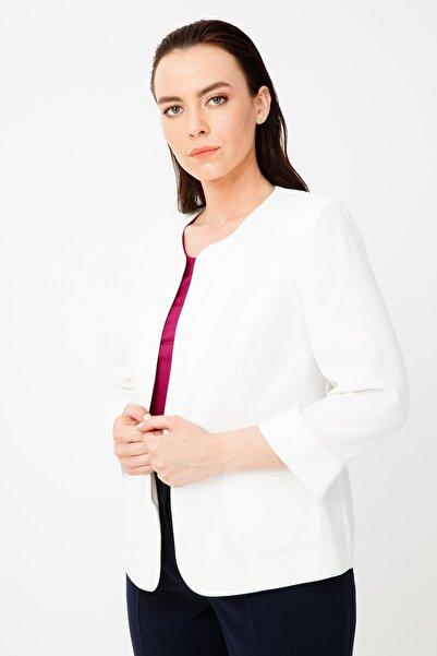 Ekol Kadın Ekru O Yaka Ceket