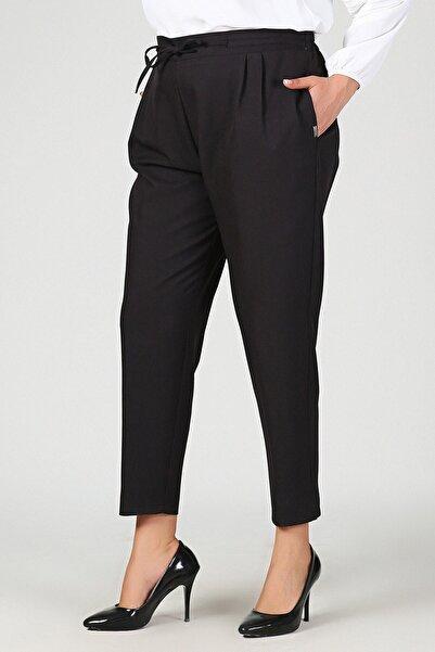 Womenice Kadın Siyah Büyük Beden Siyah Beli Lastikli Havuç Pantolon