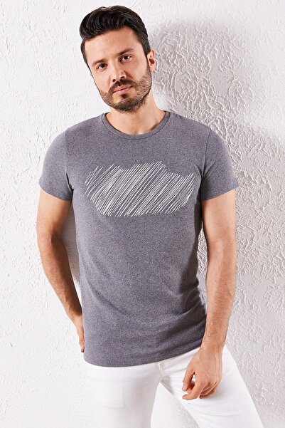 Zafoni Erkek Antrasit T-shirt