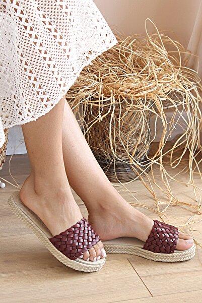 Pembe Potin Kadın Bordo Sandalet