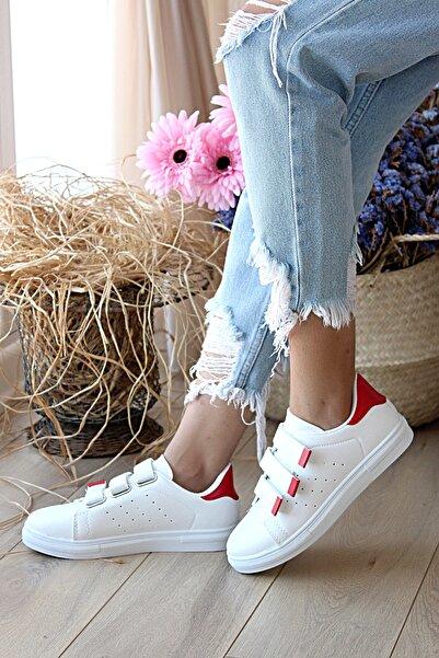 Pembe Potin Kadın Beyaz Kırmızı Desenli Ayakkabı
