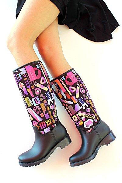 Pembe Potin Kadın Desenli  Siyah Çizme