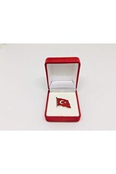 Türk Bayrağı Yaka Rozeti Özel Kadife Kutusunda