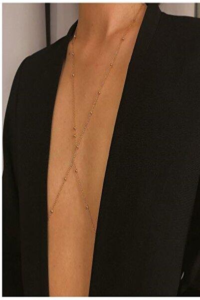 X-Lady Accessories Kadın Mini Top Boncuklu Stylish Vücut Zinciri, Bel Zinciri, Vücut Aksesuarı - Gold