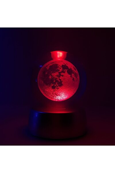Bakmakistersen Kristal Cam Küre Renk Değiştiren Ay Led Lamba