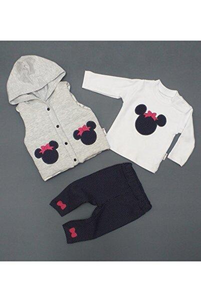Hippıl Baby Kız Bebek Mickey Detaylı 3 ' Lü Yelekli Takım