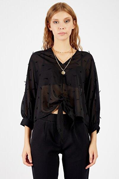 Manche Kadın Siyah Tül Bluz Mk20s172035