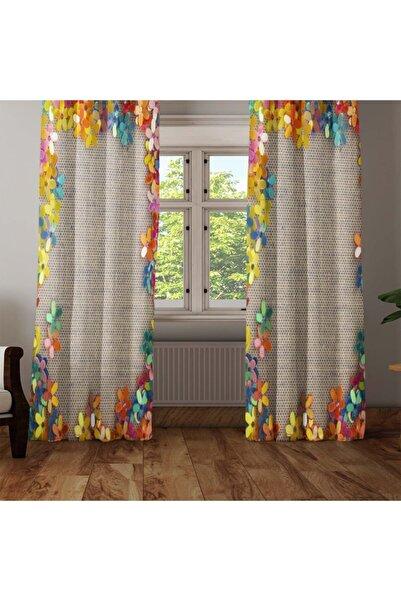 Else Halı Renkli Hasır Çiçekler 3d Dekoratif Modern Fon Perde