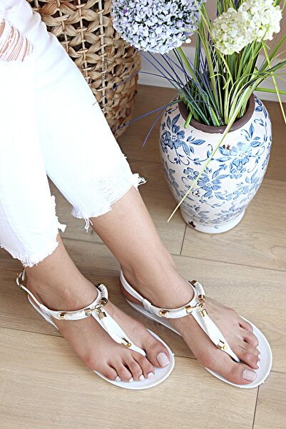 Pembe Potin Kadın Beyaz Parmak Arası Sandalet