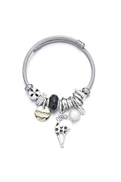 Pandora Kadın Siyah Geyik Charmlı Gümüş Tarzı Şık Bileklik