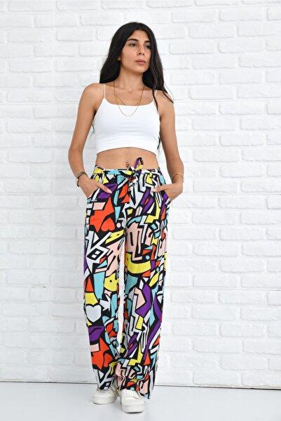 Kadın Renkli Yazlık Beli Lastikli Bol Paça Palazzo Tiril Dokuma Pantolon