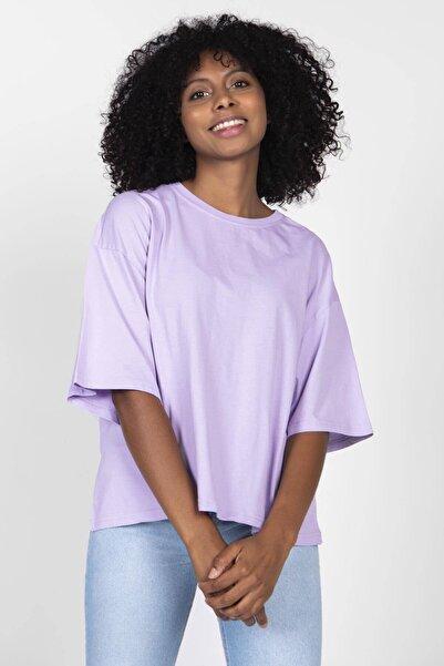 Addax Kadın Lila Oversize Basic Tişört P0920 - C8 ADX-0000022185