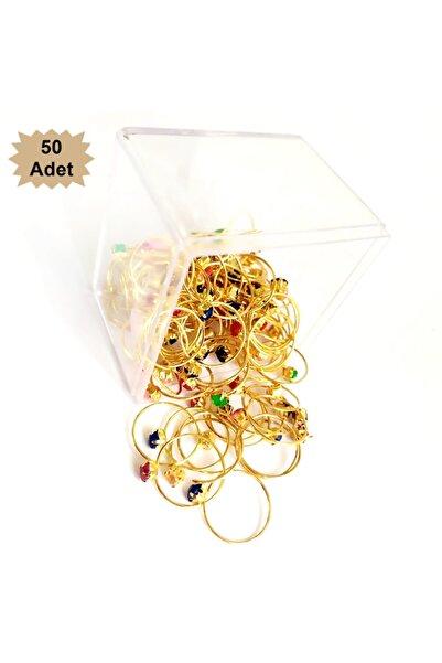 ALEYHA Hediyelik Çocuk Yüzük Altın Renk 50 Li Paket