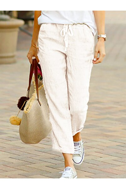 night blue Kadın Beyaz Rahat Yazlık Pantolon