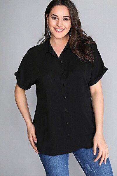 Womenice Kadın Siyah Kısa Kol Gömlek