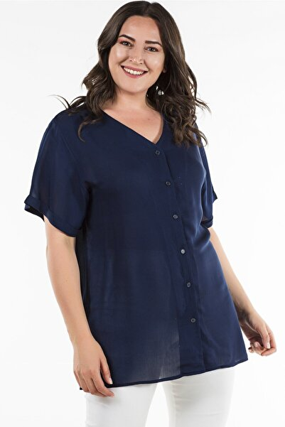 Womenice Kadın Lacivert Büyük Beden Lacivert Arkası Çapraz Gömlek
