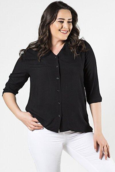 Womenice Kadın  Siyah Büyük Beden Kısa Kol Düz Kesim Gömlek