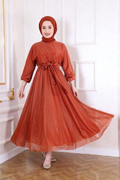 Şule Giyim Kadın Turuncu Kuşak Detaylı Simli Elbise