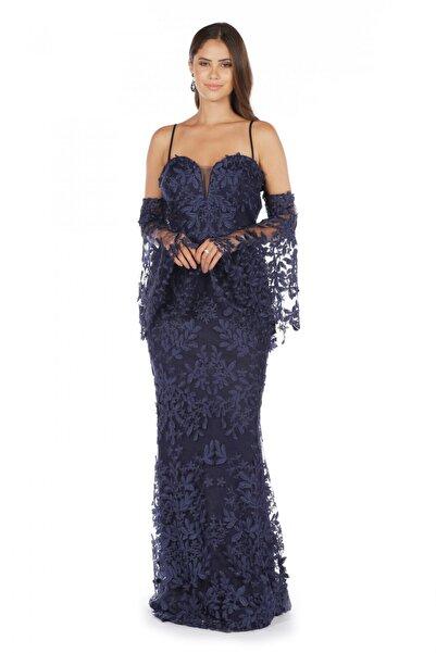 Pierre Cardin Kadın Lacivert Kolları Volanlı Uzun Abiye Elbise PC55399