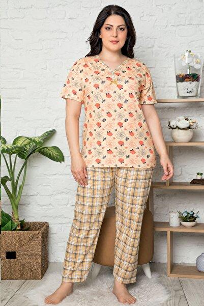 İzolli Kadın Turuncu Büyük Beden Kısa Kol Pijama Takım