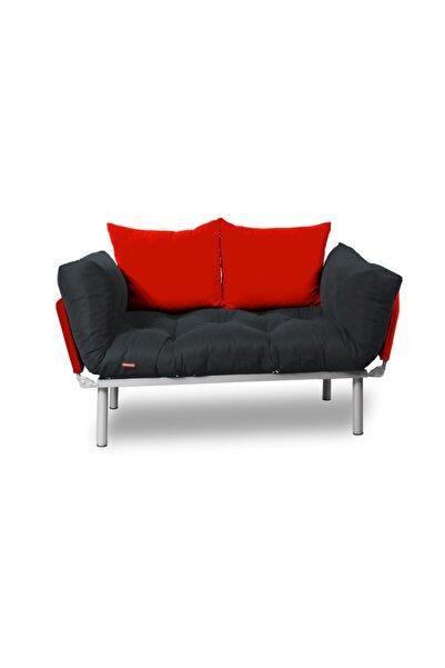 Dekoro Ikili Yataklı Kanepe Tekli 2'li Çift Kişilik Koltuk Ev Ofis Balkon Teras Kanepesi - (füme - Kırmızı)