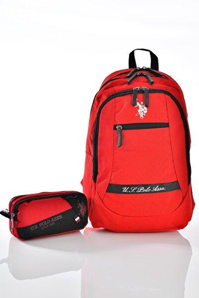 8301 Okul Sırt Çantası Kalemlikli Set Kırmızı