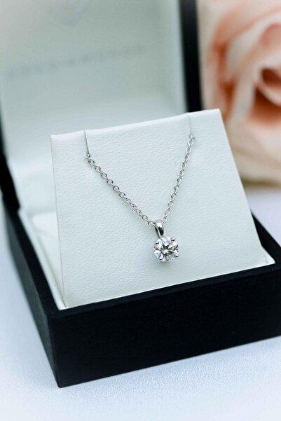 Crystal Diamond Zirconia Işıklı Kutuda Labaratuvar Pırlantası 1 Carat Tektaş Kolye