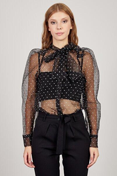 Manche Kadın Siyah Beyaz Bluz  Mk20s172013