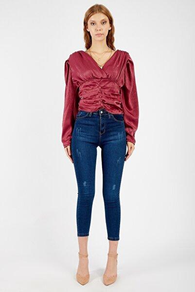 Manche Kadın Lacivert Taşlanmış Yüksek Bel Dar Paça Pantolon   Mk20s460014