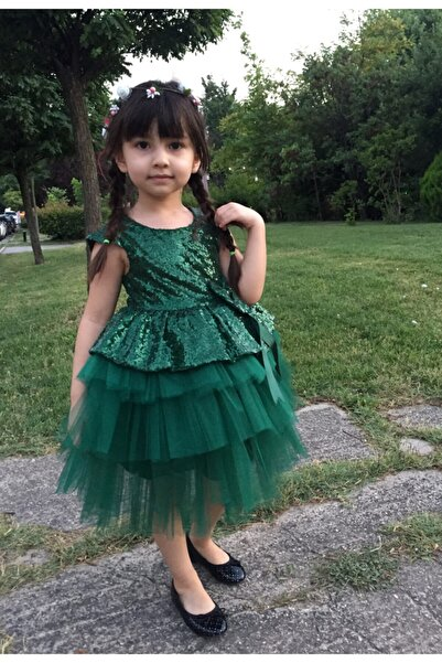 Mixie Kız Çocuk Zümrüt Yeşili Payetli Tül Elbise