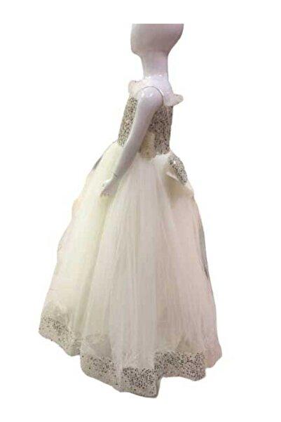 Kız Çoçuk Beyaz Abiye Elbise