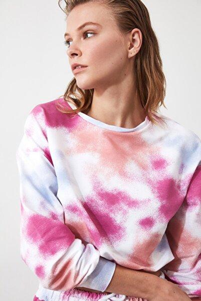 Lila Crop Büzgülü Batik Örme Sweatshirt TWOAW21SW0250