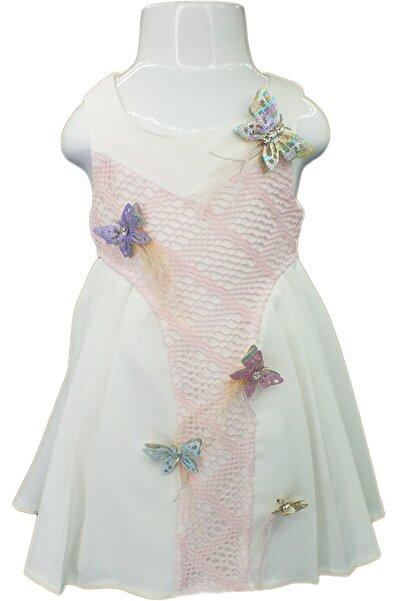 Flower Kız Çocuk Beyaz Pembe Dantel Detaylı  Yan Pileli Elbise
