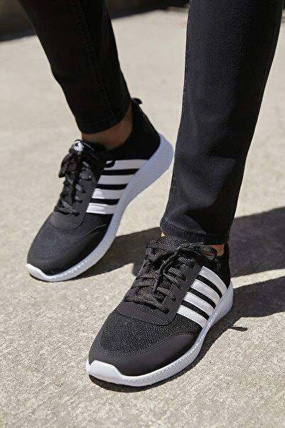 Sateen Men Erkek Siyah-Beyaz Şeritli Sneakers Ayakkabı