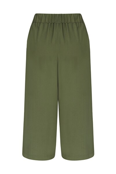 Mudo Kadın Haki Cropped Beli Lastikli Pantolon 367053