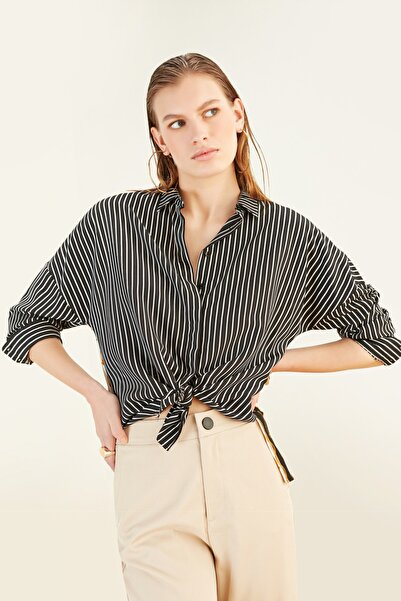 Mudo Kadın Multi Renk Desenli Oversize Çizgili Gömlek 368882