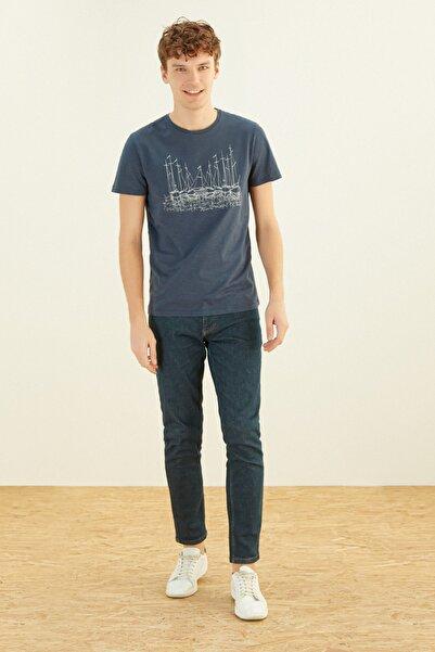 Erkek Lacivert Baskılı Bisiklet Yaka Pamuk T-Shirt 371529