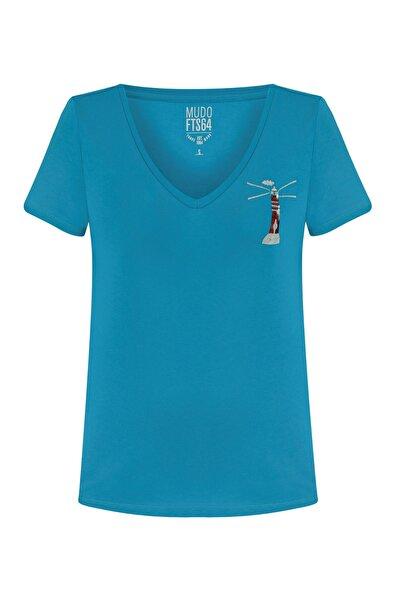 Kadın Mavi V Yaka Pul İşlemeli Pamuk T-Shırt 380299
