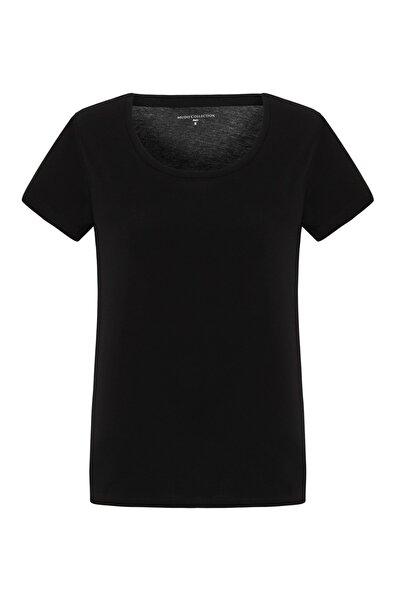 Mudo Kadın Siyah Bisiklet Yaka Pamuk T-Shirt 368779