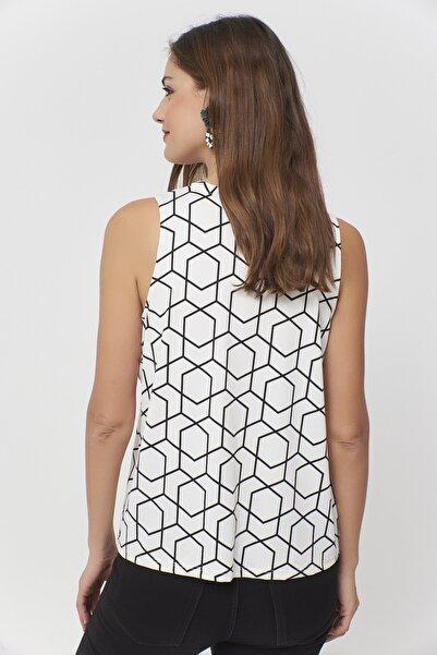 Kadın Ekru-Siyah Desenli Bluz RX384