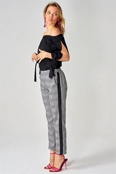 boutiquen Kadın Siyah Yanı Siyah Cepli Ekose Pantolon 10876