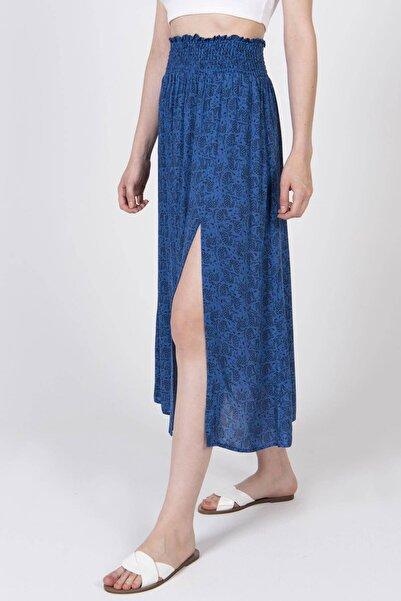 Addax Kadın İndigo Yırtmaçlı Uzun Etek E1012 ADX-0000022626