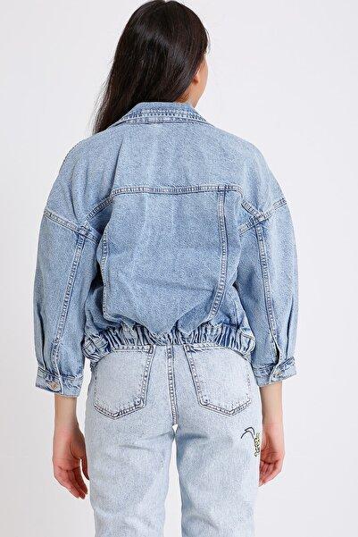 Kadın Açık Mavi Pamuklu Kot Ceket 4001