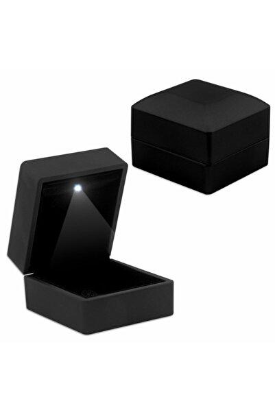 Tesbihane Işıklı Siyah Renk Yüzük/alyans Kutusu