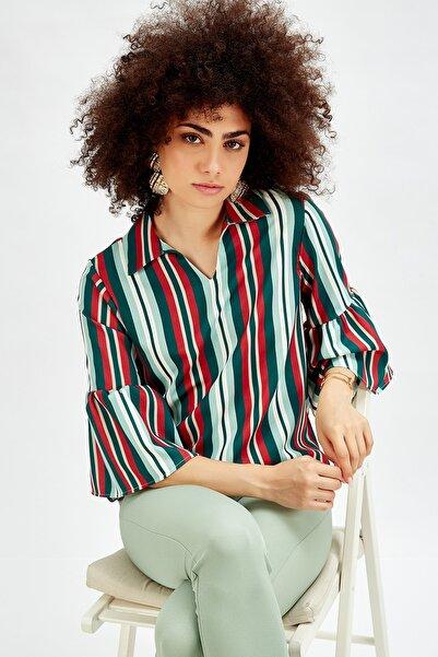 Sense Kadın Yeşil Gömlek Kolları Valonlu Çizgili Gömlek