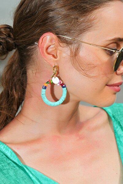 Trend Alaçatı Stili Kadın Mint Boncuklu Halka Küpe ALC-A1924