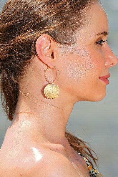 Trend Alaçatı Stili Kadın Bej Halka Hasır Küpe ALC-A1914