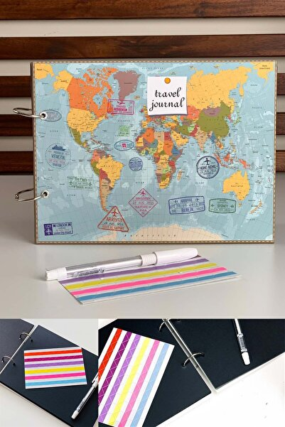 Patladı Gitti Travel Jounal Tasarımlı Fotoğraf Albümü Anı Defteri; Beyaz Kalem Ve Yapıştırıcı Hediyeli