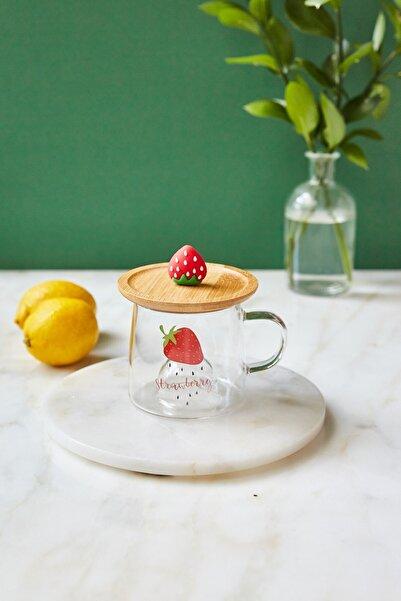 Arma House Strawberry Bambu Kapaklı Cam Kupa Bardağı (2)