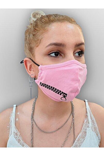 MOF Fermuar Baskılı Pembe Maske